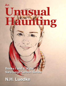 cover art for An Unusual Haunting featuring sketch of Sara and text